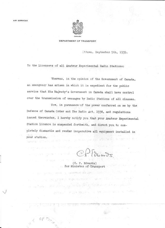 1939 order to cease ham radio operations