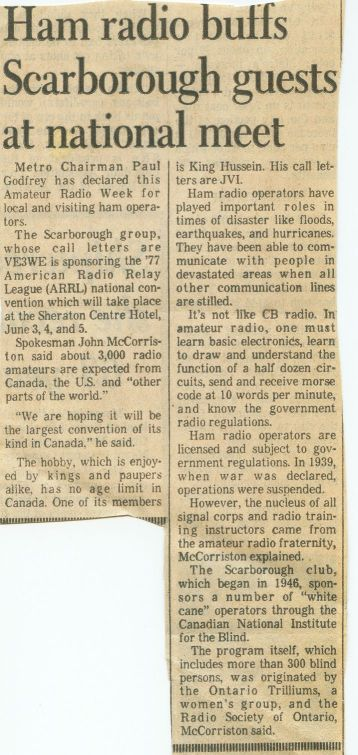 ARRL 1977 newspaper article