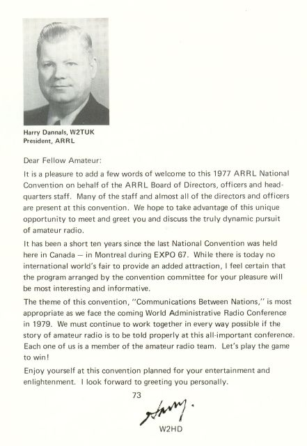 1977 ARRL Convention - ARRL President's Message
