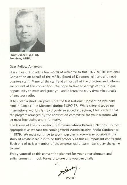 1977 ARRL Convention - ARRL President's Message