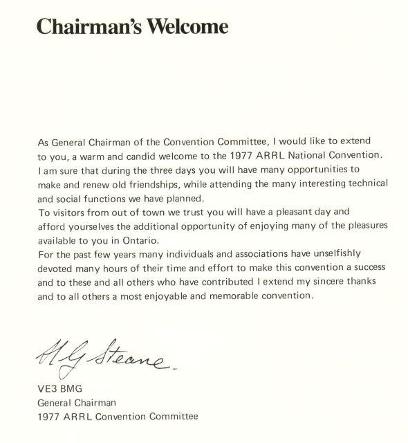 1977 ARRL SARC President's welcome