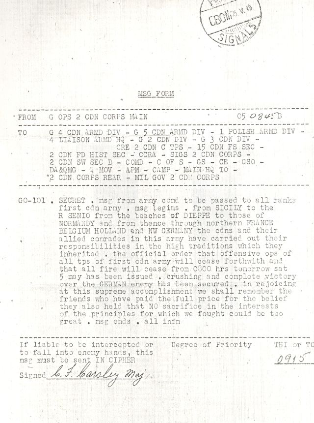 Cease Fire Order, 1945