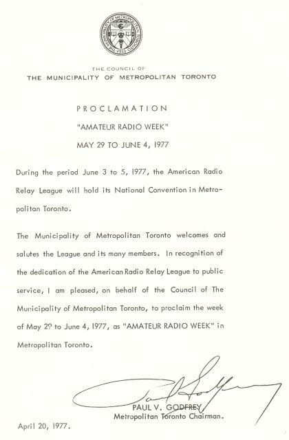1977 Toronto Amateur Radio Week proclamation