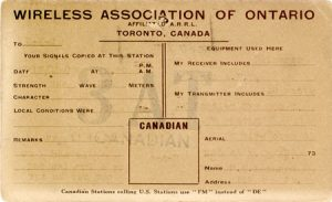 Wireless Association of Ontario standard QSL card from 3AT