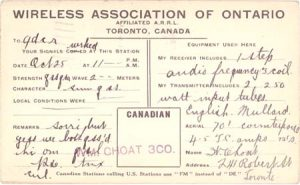 Wireless Association of Ontario standard QSL card from 3CO