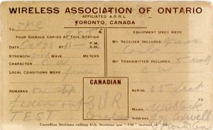 Wireless Association of Ontario standard QSL card from 3DR
