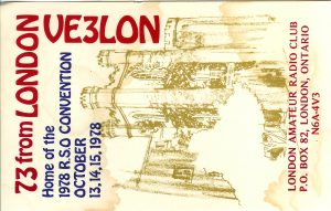 1978 RSO Convention QSL from VE3LON, courtesy of Gord VE3HXF