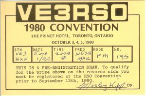 VE3RSO 1980 convention QSL, courtesy of Gord VE3HXF