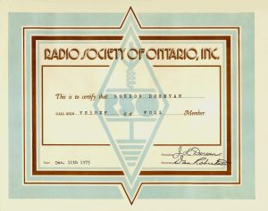 RSO membership certificate, courtesy of Gord VE3HXF